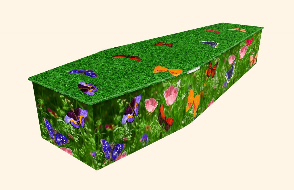 Butterfly Garden Picture Coffin